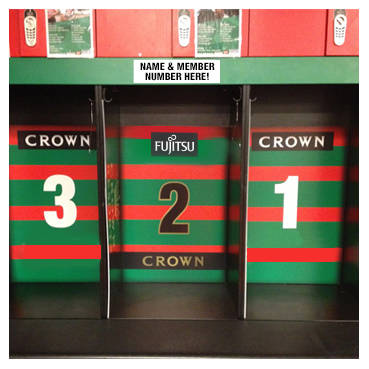 Your Name & Membership Number on a Players Locker in the Rabbitohs Changeroom at ANZ Stadium 2019 - Locker Position 4/25