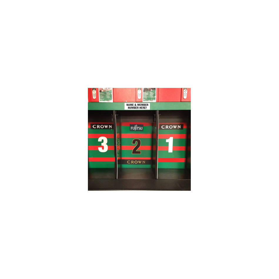 mainYour Name & Membership Number on a Players Locker in the Rabbitohs Changeroom at ANZ Stadium 2019 -Locker Position 18/250