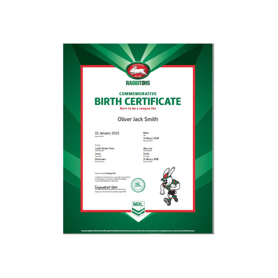 mainRabbitohs Commemorative Birth Certificate (1 of 5)0