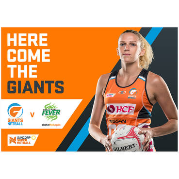 4 x General Admission tickets to GIANTS Netball v West Coast Fever, Saturday 4 August 2018