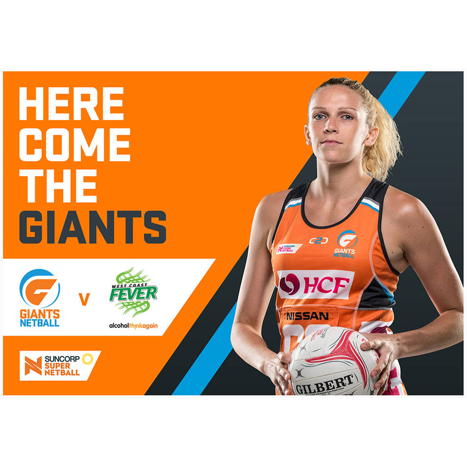 main4 x General Admission tickets to GIANTS Netball v West Coast Fever, Saturday 4 August 20180