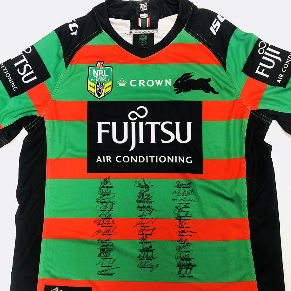 main2018 Squad Signed South Sydney Rabbitohs Home Jersey0