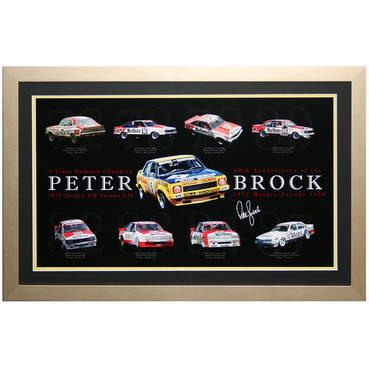Peter Brock 40th Anniversary Print with his 9 Bathurst winning cars framed