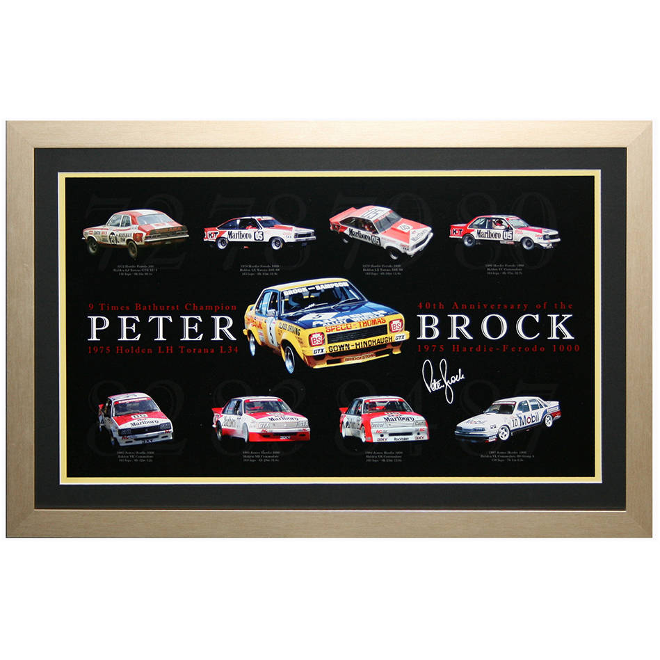 mainPeter Brock 40th Anniversary Print with his 9 Bathurst winning cars framed0
