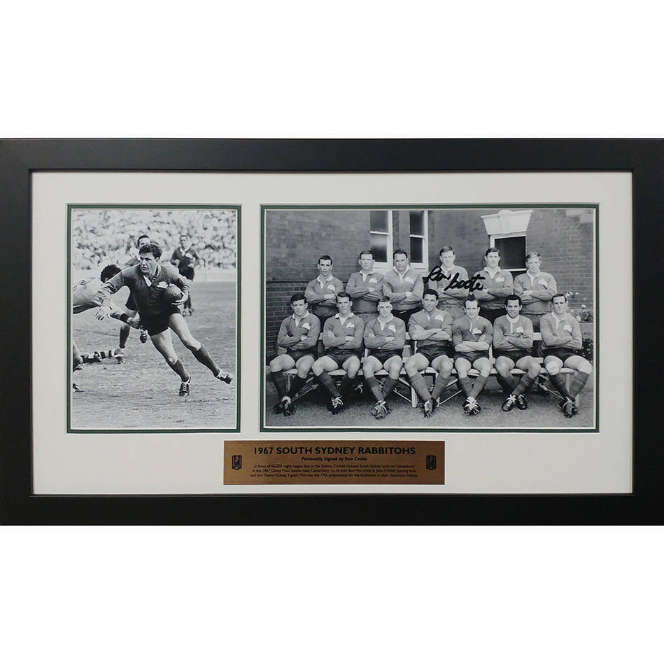 main1967 South Sydney Rabbitohs 50th Anniversary Collage signed by Ron Coote Framed0