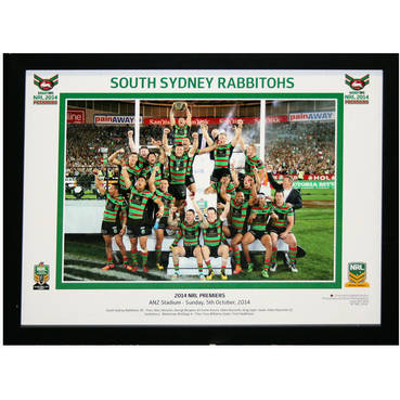 2014 South Sydney Rabbitohs Celebration Photo Framed