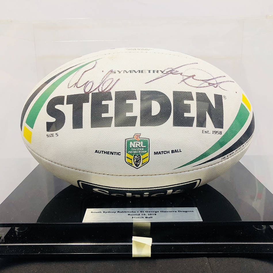 mainGreg Inglis and Gareth Widdop signed match ball from NRL Game – Round 10: Rabbitohs v Dragons0