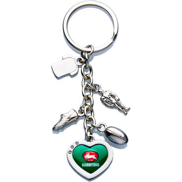 Rabbitohs Love Heart Keyring