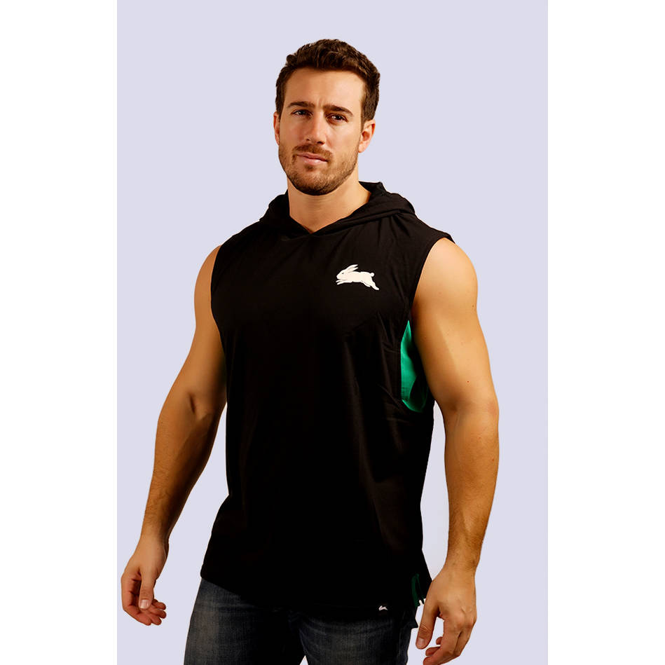 Mens Classic Black Sleeveless Hoody0