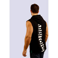 Mens Classic Black Sleeveless Hoody1