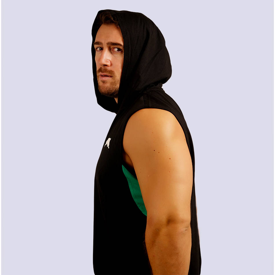 Mens Classic Black Sleeveless Hoody2