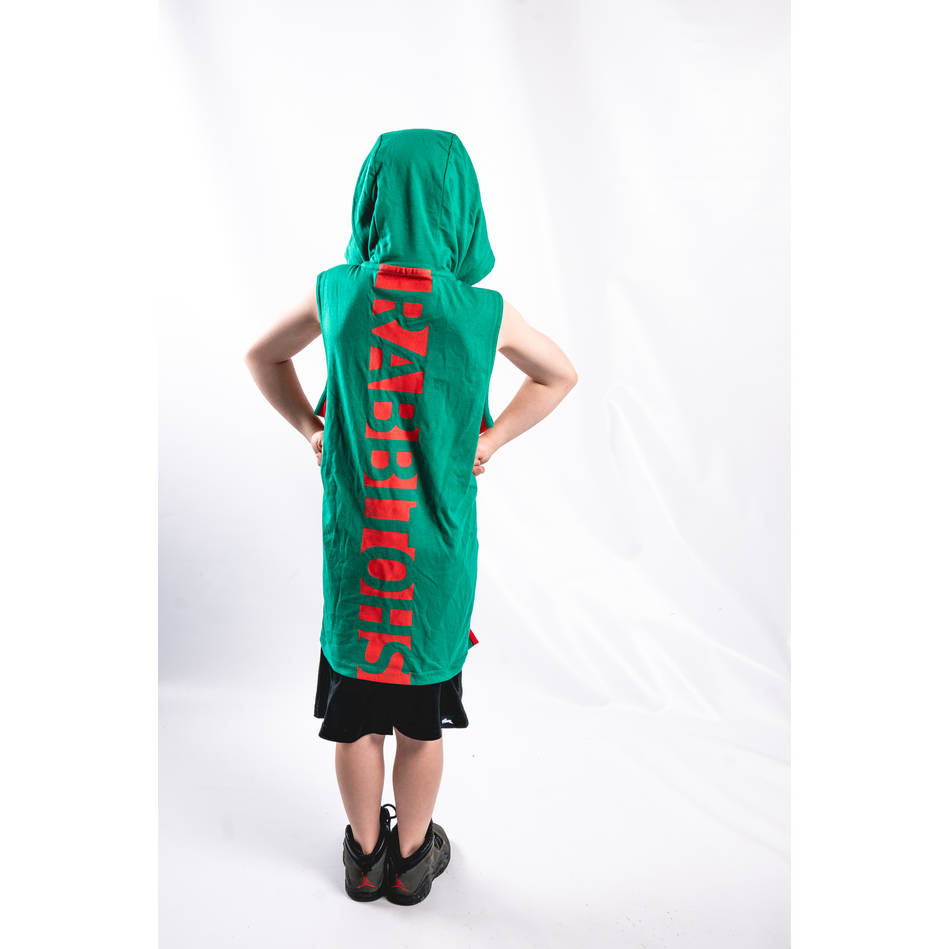 Kids Green Sleeveless Hood1