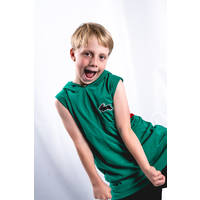 Kids Green Sleeveless Hood2