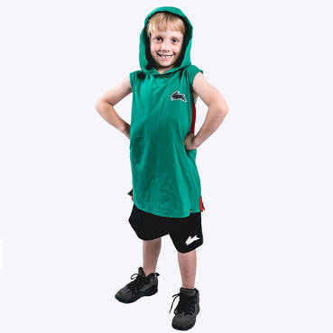 Kids Green Sleeveless Hood