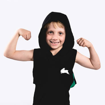 Kids Black Sleeveless Hoody