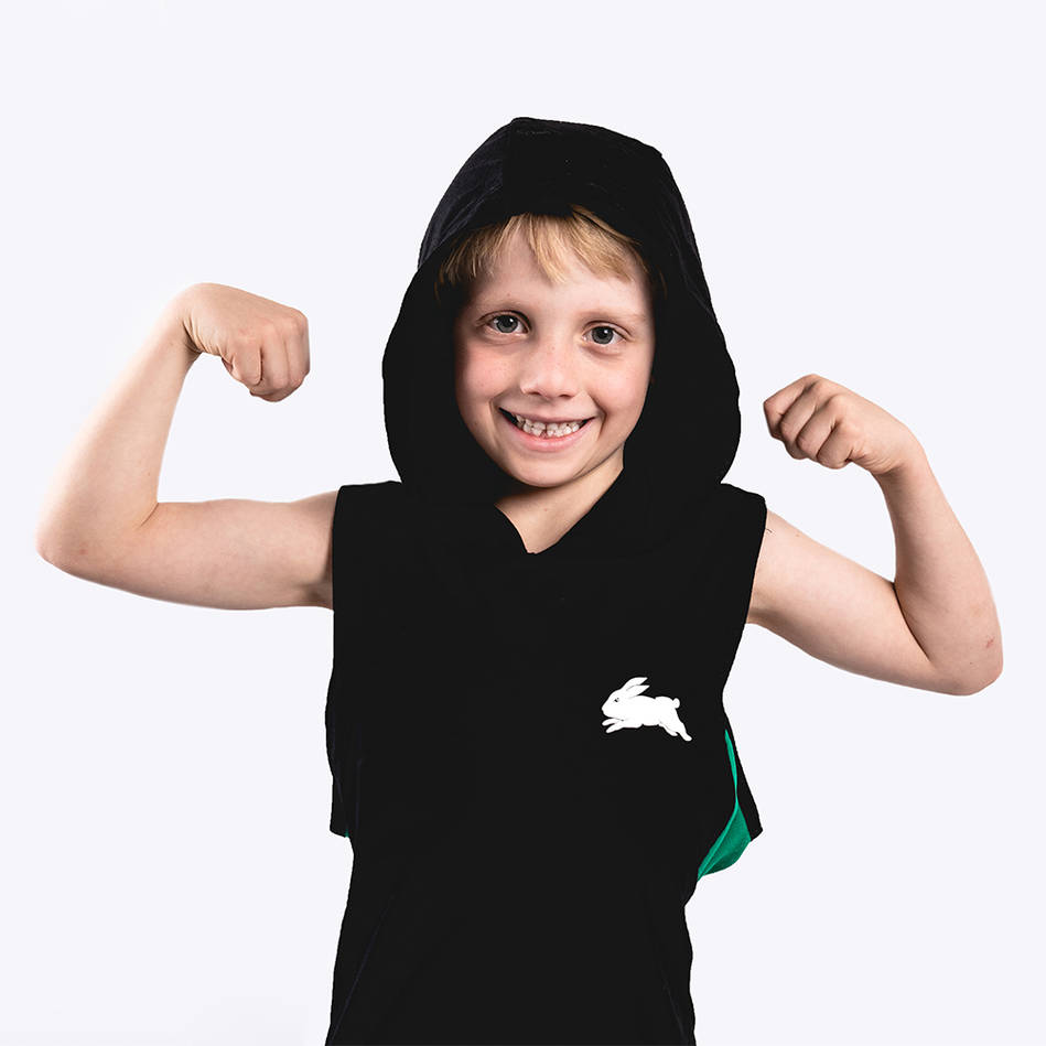 Kids Black Sleeveless Hoody0