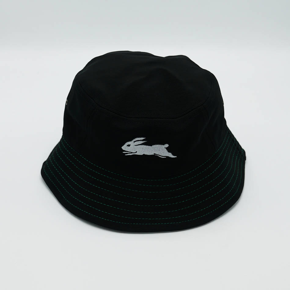 Rabbitohs Black Bucket Hat Green Stitching1